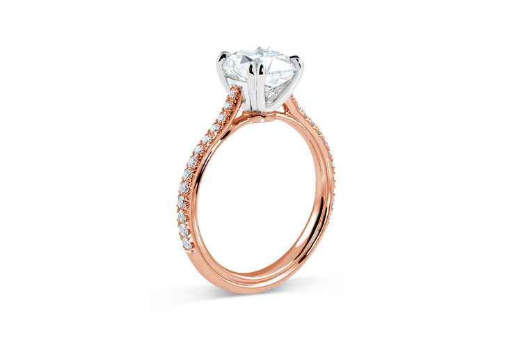 Tapered Solitaire Engagement Ring | Pave Diamonds | Rose Gold