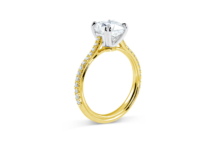 Tapered Pave Engagement Ring in Yellow Gold