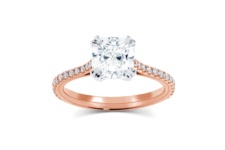 Tapered Pave Solitaire Engagement Ring