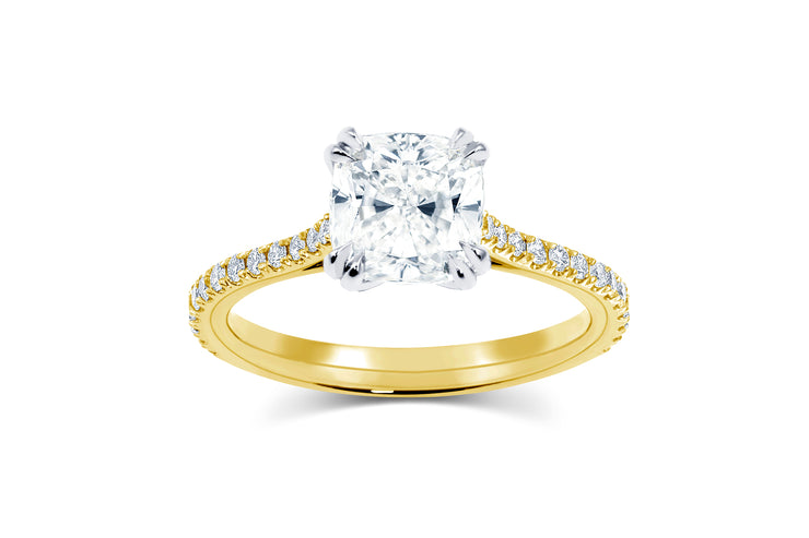 Yellow Gold Tapered Pave Engagement Ring