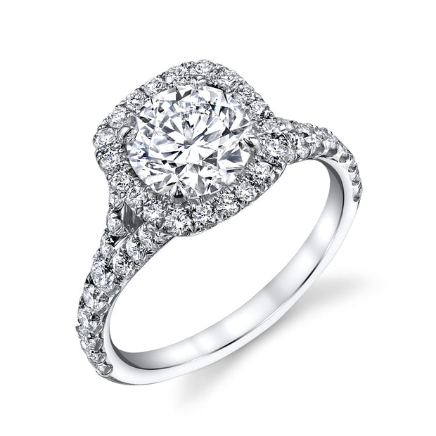 Round Cut Halo Split Shank Engagement Ring in White Gold