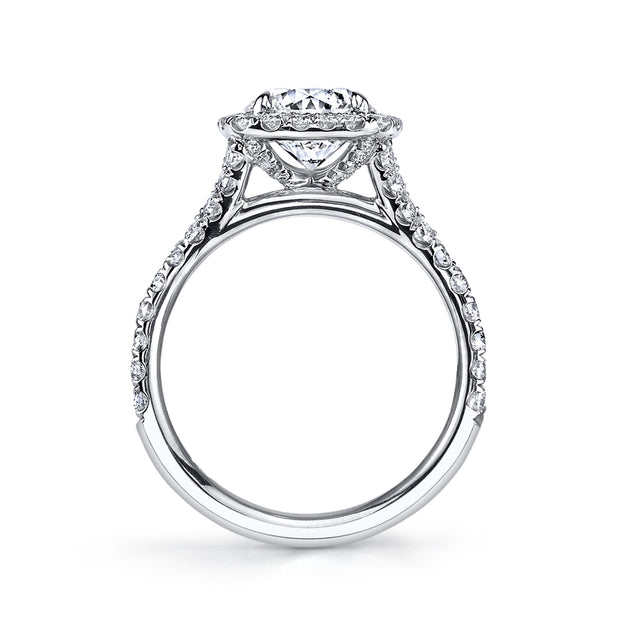 Split Shank Cathedral Engagement Ring in White Gold
