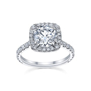 Round Cut Cushion Halo Engagement Ring | White Gold with Pave Diamonds