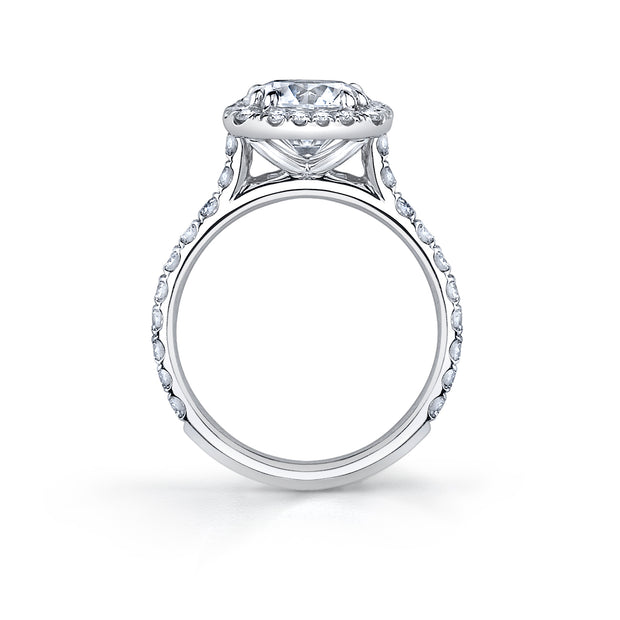 White Gold Round Cut Cushion Halo Engagement Ring
