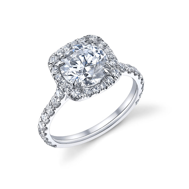 Round Diamond Cushion Halo Engagement Ring in White Gold