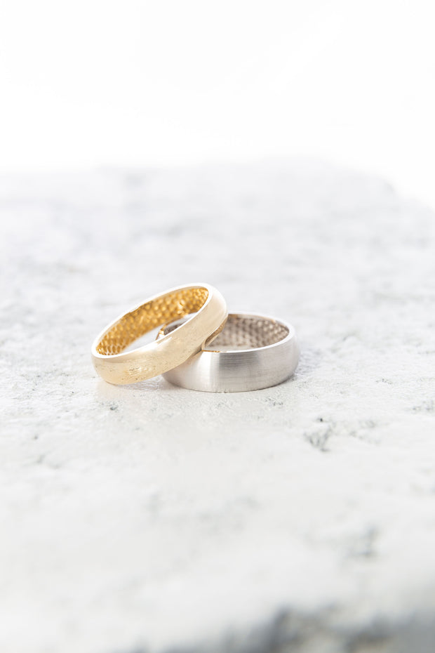 Men's Gold Half Round Wedding Band with Inner Honeycomb Pattern