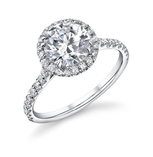 Round Cut Halo Engagement Ring with Pave Diamonds in White Gold