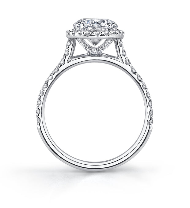 Cathedral Round Cut Engagement Ring in White Gold