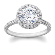 Round Halo Pave Engagement Ring in White Gold