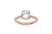 Round Cut Pave Cathedral Engagement Ring