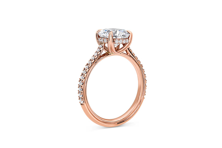 Round Cut Pave Cathedral Engagement Ring in Rose Gold