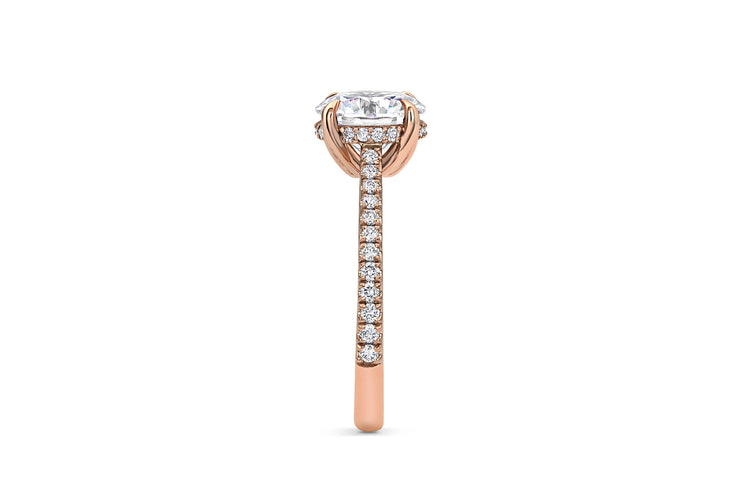 Pave Diamond Cathedral Set Engagement Ring