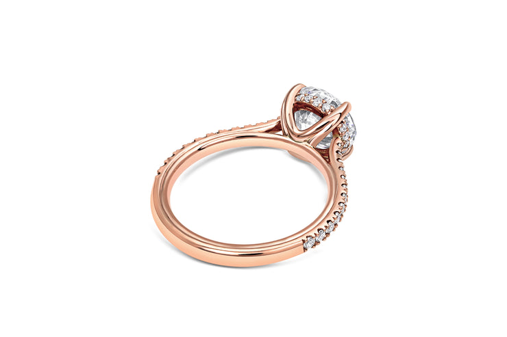 Rose Gold Pave Cathedral Engagement Ring in Rose Gold
