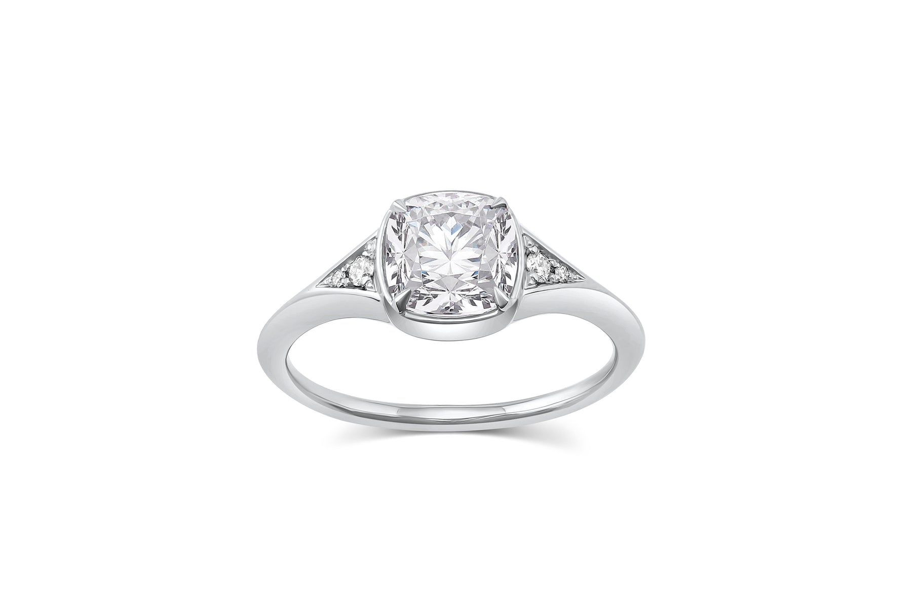 Diamond Engagement Ring 10k Gold Illusion Solitaire with Accents Single .12ctw