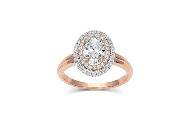 1.03ct Double Halo Diamond Ring