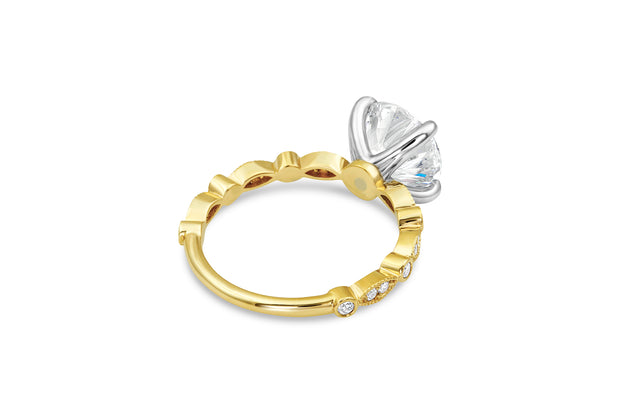 Bead and Eye Solitaire Engagement Ring in Yellow Gold