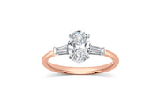 Three Stone Oval Baguette Engagement Ring