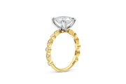 Round Bead and Eye Engagement Ring in Yellow Gold