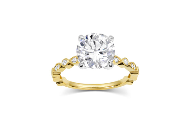 Bead and Eye Engagement Ring | Round Cut Diamond in Yellow Gold