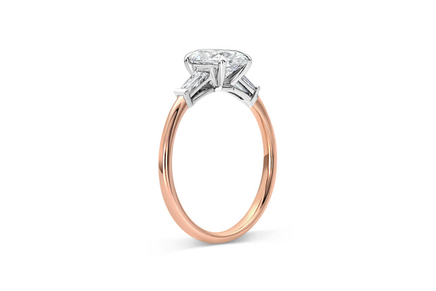 Oval Three Stone Baguette Engagement Ring
