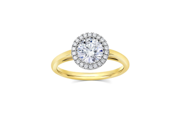 Round Cut Halo Cathedral Setting Engagement Ring