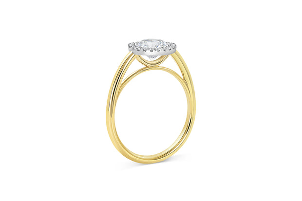 Cathedral Set Engagement Ring | Round Cut Diamond with Halo