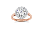 Basket Setting Engagement Ring with Halo in Rose Gold