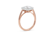 Basket Cathedral Engagement Ring with Round Cut Halo in Rose Gold