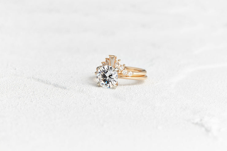 Round, Marquise, and Baguette Diamond Wedding Ring