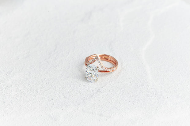 V Shaped Wedding Band with Round Diamonds