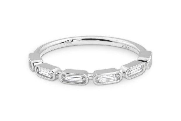 Baguette Wedding Ring in White Gold