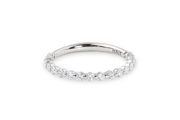 Thin Round Diamond Wedding Ring in White Gold