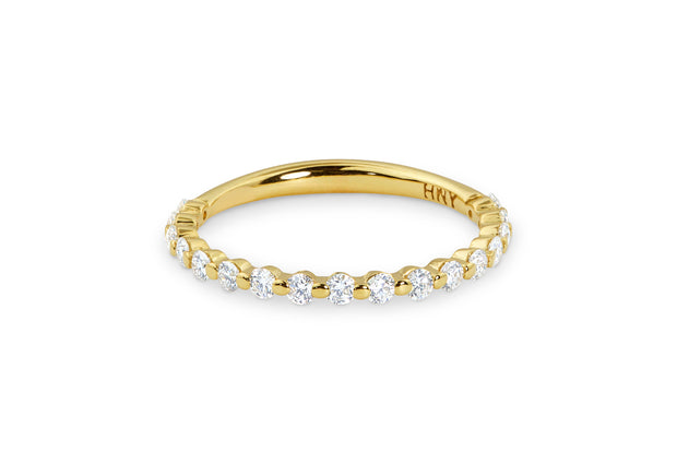 Women's Thin Diamond Wedding Band in Yellow Gold