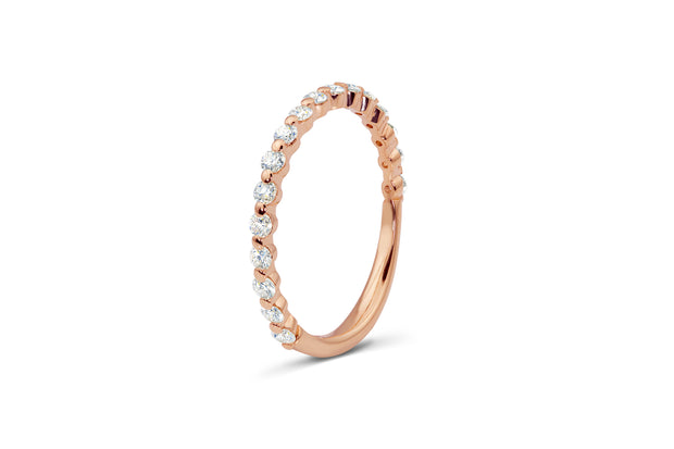 Thin Wedding Band with Round Diamonds in Rose Gold