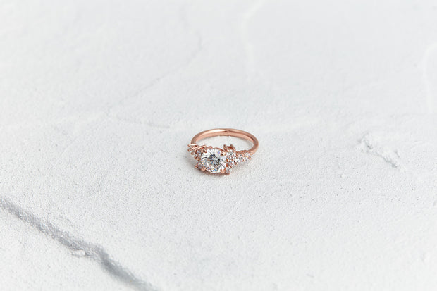 Asymmetrical Engagement Ring in Rose Gold
