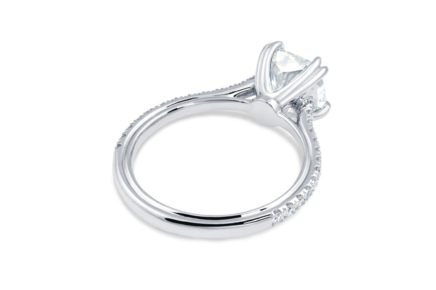 Tapered Band Round Solitaire Engagement Ring in White Gold
