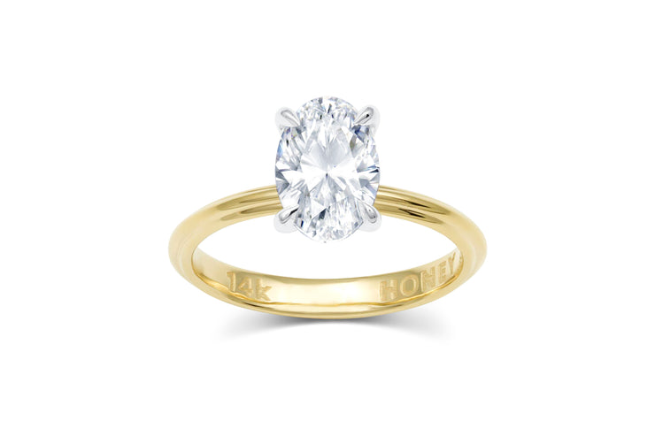 Oval Solitaire Four Prong Engagement Ring
