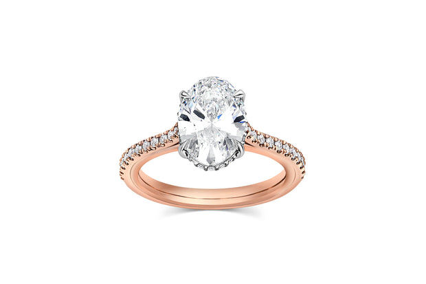 Oval Graduated Pave Cathedral Engagement Ring in Rose Gold