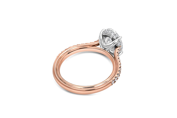Graduated Pave Engagement Ring in Rose Gold