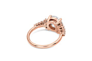 Asymmetric Diamond Engagement Ring in Rose Gold