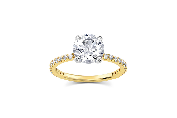 Round Cut Pave Engagement Ring in Yellow Gold