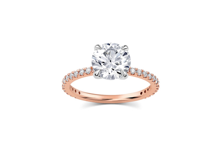 Round Solitaire Pave Engagement Ring