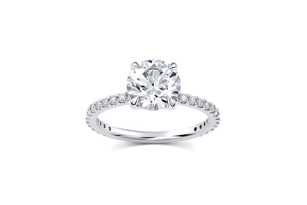 Round Cut Pave Engagement Ring in White Gold