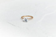 Round Cut Pave Engagement Ring | Solitaire