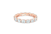 East West Oval Cut Eternity Band in Rose Gold