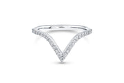V Shaped Wedding Ring in White Gold