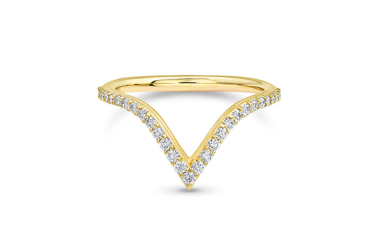 V Shaped Wedding Ring in Yellow Gold