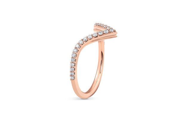 V Shaped Diamond Wedding Band in Rose Gold