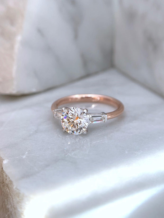 Mackenzie | Oval Three Stone Tapered Baguette Engagement Ring