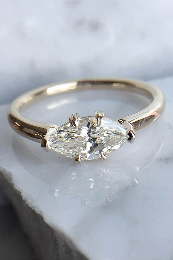 East-West Set Diamond Engagement Ring in Yellow Gold